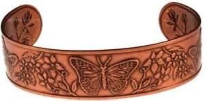 【送料無料】ブレスレット アクセサリ― ブレスレットカフスsolid copper bracelet cuff butterfly handmade jewelry adjustable arthritis pain
