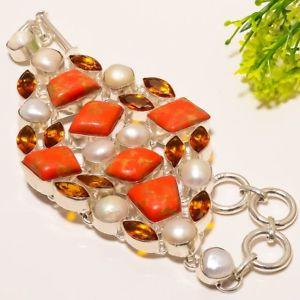 【送料無料】ブレスレット アクセサリ― ターコイズシトリンパールブレスレットwedding wear red copper turquoise,citrine amp; pearl gemstone bracelet 78 b4559