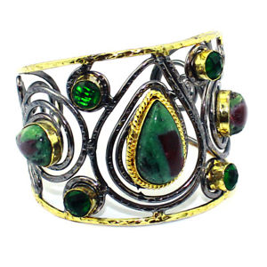 【送料無料】ブレスレット アクセサリ― クオーツカフruby josite tsavorite quartz cuff jewelry gold womens jewelry