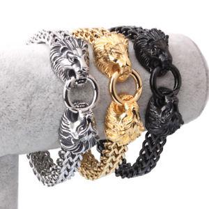 【送料無料】ブレスレット アクセサリ― メンズビンテージステンレススチールフィガロチェーンライオンヘッドバイカーブレスレット3colors mens vintage stainless steel figaro chain large lion head biker bracelet