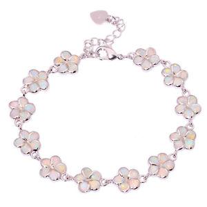 【送料無料】ブレスレット アクセサリ― チェーンブレスレットオパールシルバーwhite fire opal silver flower for women jewelry gemstone chain bracelet os419