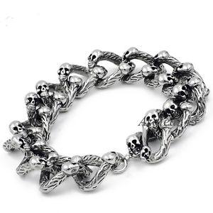 【送料無料】ブレスレット アクセサリ― メンズヘビーシルバースカルリンクバイカーステンレススチールチェーンブレスレットmens heavy silver skull links biker stainless steel chain bracelet 23cm or 9
