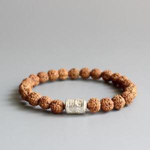 【送料無料】ブレスレット アクセサリ― チベットマントラビーズブレスレットnatural rudraksha tibetan mantra beads bracelet