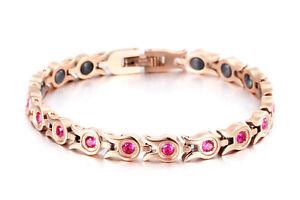 【送料無料】ブレスレット アクセサリ― ローズゴールドチタンジルコンリンクブレスレットrose gold titanium steel cz zircon crystal magnetic therapy link bracelet women