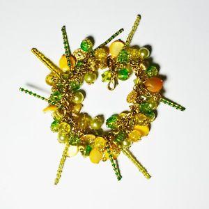 【送料無料】ブレスレット アクセサリ― グリーンゴールドハンドメイドビーズブレスレットgreen and gold handmade beaded charm bracelet
