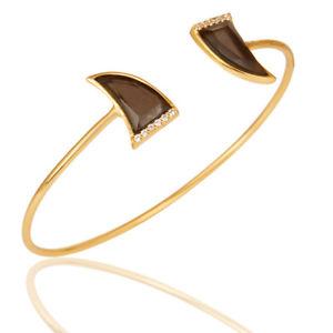 【送料無料】ブレスレット アクセサリ― スモーキートパーズホワイトジルコンオープンブレスレット14k gold plated smoky topaz amp; white zircon openable brass bracelet jewelry
