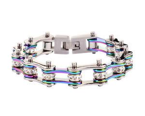 【送料無料】ブレスレット アクセサリ― womensステンレスシルバーバイクチェーンブレスレットアメリカwomens stainless steel silver rainbow crystal bike chain bracelet usa seller