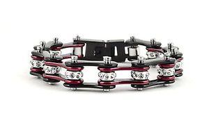 【送料無料】ブレスレット アクセサリ― オートバイステンレスキャンディーレッドバイクチェーンブレスレットwomens ladies motorcycle stainless steel crystal candy red bike chain bracelet