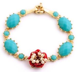 【送料無料】ブレスレット アクセサリ― ゴールドパールビーズクリスタルラインストーンブレスレットblue green red floral carved resin gold pearl bead crystal rhinestone bracelet