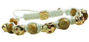 【送料無料】ブレスレット アクセサリ― メンズレディースゴールドスカルブレスレットラインストーンビーズホワイトコードmens womens gold skull bracelet agate rhinestone beaded white cord