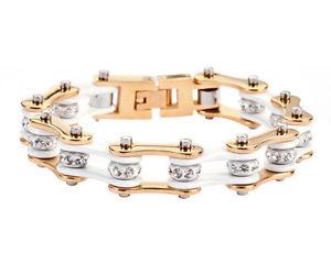 【送料無料】ブレスレット アクセサリ― ステンレススチールゴールドホワイトバイクチェーンブレスレットアメリカwomens stainless steel gold white bling bike chain bracelet usa seller