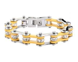 【送料無料】ブレスレット アクセサリ― レディースオートバイステンレススチールバイクチェーンブレスレットwomens ladies motorcycle stainless steel yellow crystal bike chain bracelet