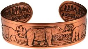 【送料無料】ブレスレット アクセサリ― ブレスレットカフスsolid copper bracelet bear cuff jewelry large animal hunting wide arthritis pain
