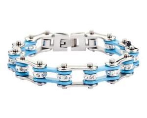 【送料無料】ブレスレット アクセサリ― オートバイステンレストルコバイクチェーンブレスレットwomens ladies motorcycle stainless steel turquoise crystal bike chain bracelet