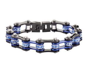 【送料無料】ブレスレット アクセサリ― ステンレスシルバーblingバイクチェーンブレスレットアメリカwomens stainless steel silver blue bling bike chain bracelet usa seller