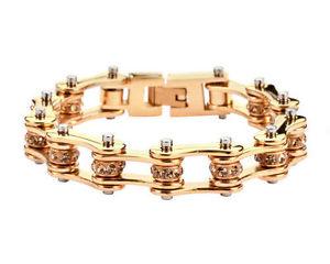 【送料無料】ブレスレット アクセサリ― ステンレススチールゴールドバイクチェーンブレスレットアメリカwomens stainless steel gold bling bike chain bracelet usa seller