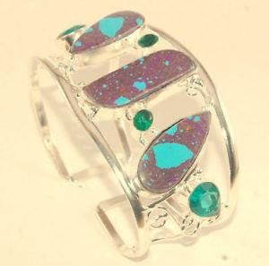 【送料無料】ブレスレット アクセサリ― ターコイズロンドントパーズハンドメイドジュエリーカフpurple copper turquoise,london topaz 44 gm handmade jewelry cuff 8