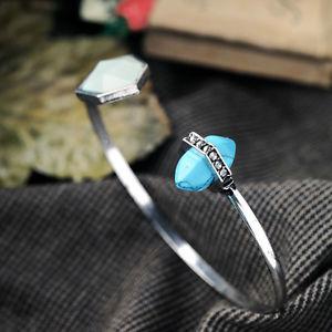 【送料無料】ブレスレット アクセサリ― ブレスレットシルバーアールデコオープンbracelet silver art deco irregular open turquoise blue end original ct5