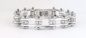 【送料無料】ブレスレット アクセサリ― レディースバイクステンレススチールクリスタルホワイトバイクチェーンブレスレット womens ladies motorcycle stainless steel crystal white bike chain bracelet