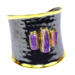 【送料無料】ブレスレット アクセサリ― charoiteカフスcharoite cuff jewelry gold gemstone jewelry