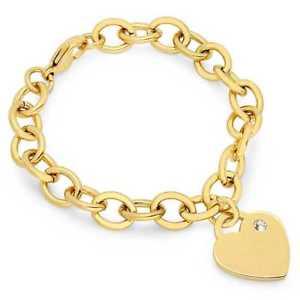 【送料無料】ブレスレット アクセサリ― 6 ステンレスリンクブレスレット6 yellow tone stainless steel heart charm link bracelet