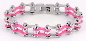 【送料無料】ブレスレット アクセサリ― レディースレディースステンレススチールシルバーピンクバイクチェーンミニブレスレットアメリカwomens ladies stainless steel silver pink bike chain mini bracelet usa seller