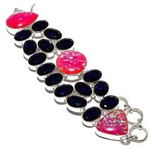 【送料無料】ブレスレット アクセサリ― ファイアーオパールサファイアブレスレット78lawful triplet fire opal, blue sapphire jewelry handmade bracelet 78