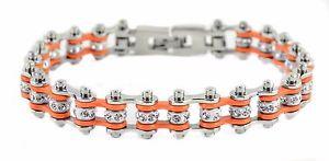 【送料無料】ブレスレット アクセサリ― レディースステンレススチールシルバーオレンジミニミニバイクチェーンブレスレットアメリカwomens stainless steel silver orange mini mini bike chain bracelet usa seller