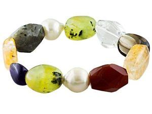 【送料無料】ブレスレット アクセサリ― ストレッチブレスレットwhite cultured freshwater pearl, multigem stretch bracelet