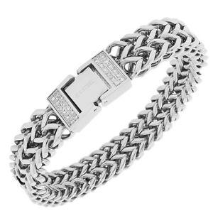 【送料無料】ブレスレット アクセサリ― ステンレスホワイトczダブルチェーンmensブレスレットstainless steel white cz silvertone double chain mens bracelet