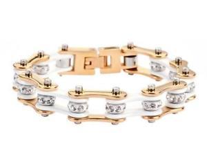 【送料無料】ブレスレット アクセサリ― レディースゴールドトーンオートバイステンレスバイクチェーンブレスレットladies gold tone white motorcycle stainless steel crystals bike chain bracelet