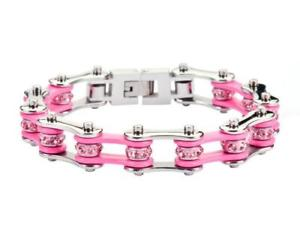 【送料無料】ブレスレット アクセサリ― レディースレディースステンレススチールシルバーピンクバイクチェーンブレスレットアメリカwomens ladies stainless steel silver pink bike chain bracelet usa seller