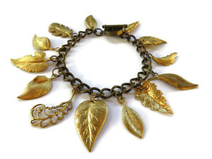 【送料無料】ブレスレット アクセサリ― ヴィンテージリーフマルチチャームチェーンブレスレットvintage brass leaf leaves multi charm chain toggle bracelet