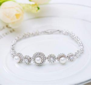 【送料無料】ブレスレット アクセサリ― ラウンドブライダルブレスレットwhite round pearl wedding silver crystal party gift anniversary bridal bracelet