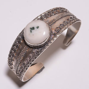 【送料無料】ブレスレット アクセサリ― リアルコケハンドメイドクリスマスギ46ct real moss agate handmade adjustable cuff silver plated jewelry christmas gi