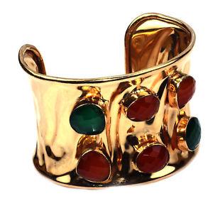 【送料無料】ブレスレット アクセサリ― ルビーエメラルドカフruby emerald rosegold cuff handmade jewelry