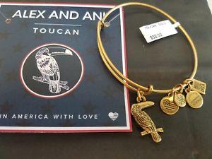 【送料無料】ブレスレット アクセサリ― アレックスオオハシブレスレットラファエリアンゴールドカードバッグalex and ani toucan expandable bracelet rafaelian gold w card and bag