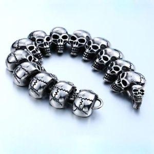【送料無料】ブレスレット アクセサリ― メンズジュエリーパンクゴシックスカルヘッドチタニウムスチールリンクブレスレットmens jewelry punk gothic large skull head 316l titanium steel link bracelet