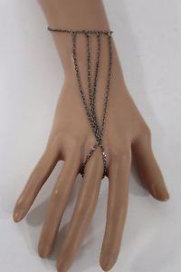 【送料無料】ブレスレット アクセサリ― ピューターシンハンドチェーンファッションブレスレットスレーブリングwomen metal strands pewter thin hand chain fashion bracelet slave ring skinny