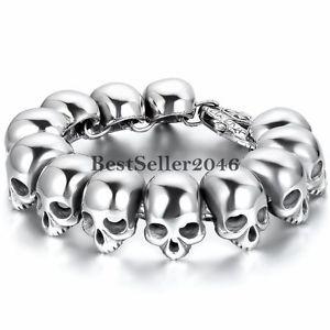 【送料無料】ブレスレット アクセサリ― メンズステンレススチールパンクスカルチェーンリンクブレスレットゴシックシルバーポリッシュheavy mens stainless steel punk skull chain link bracelet gothic silver polish