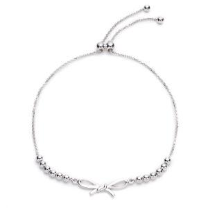【送料無料】ブレスレット アクセサリ― スターリングシルバービーズブレスレットインチsterling silver adjustable beaded bracelet with bow, expandable 925 inch