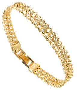 【送料無料】ブレスレット アクセサリ― シンゴールドトーンアメリカワイヤリンクブレスレットupcycled thin gold tone wire link bracelet made in usa 14