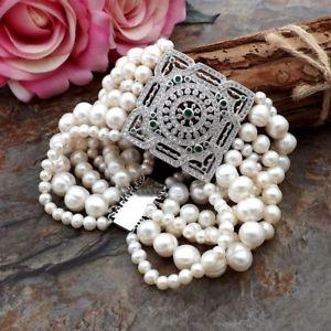 【送料無料】ブレスレット アクセサリ― ストランドホワイトパールブレスレットge092412 8 7 strands white pearl bracelet