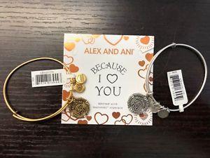 【送料無料】ブレスレット アクセサリ― アレックスゴールドシルバーbnwt authentic alex and ani because i love you iii gold silver