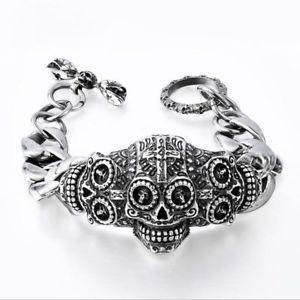 【送料無料】ブレスレット アクセサリ― メンズクロステロスカルステンレススチールブレスレットhigh quality mens carved flower cross terror skull 316l stainless steel bracelet