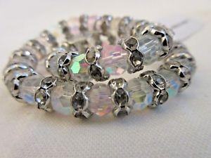 【送料無料】ブレスレット アクセサリ― オーロラガラスクリスタルビーズブレスレットストレッチkirks folly aurora borealis glass crystal beaded stretch bracelet nwt signed