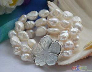 【送料無料】ブレスレット アクセサリ― ホワイトバロックブレスレットp4586 3row 8 15mm white baroque freshwater cultured pearl bracelet