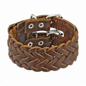 【送料無料】ブレスレット アクセサリ― ブレスレットダブルベルトbracelet leather braided brown double belt