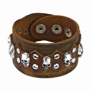 【送料無料】ブレスレット アクセサリ― ブレスレットbracelet brown leather skulls