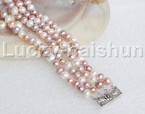 【送料無料】ブレスレット アクセサリ― マルチカラーパールブレスレットスターリングシルバークラスプnatural 8 4row 8mm round multicolor pearl bracelet sterling silver clasp j12213